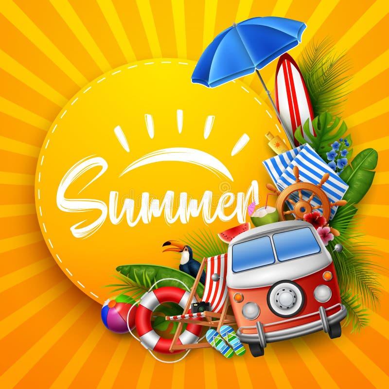 Hola verano con las hojas tropicales, papel redondo, bandera, cartel, en fondo rayado del verano ilustración del vector