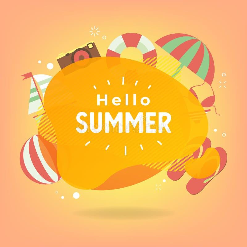 Hola verano con los elementos coloridos de la playa y círculo para el texto libre illustration