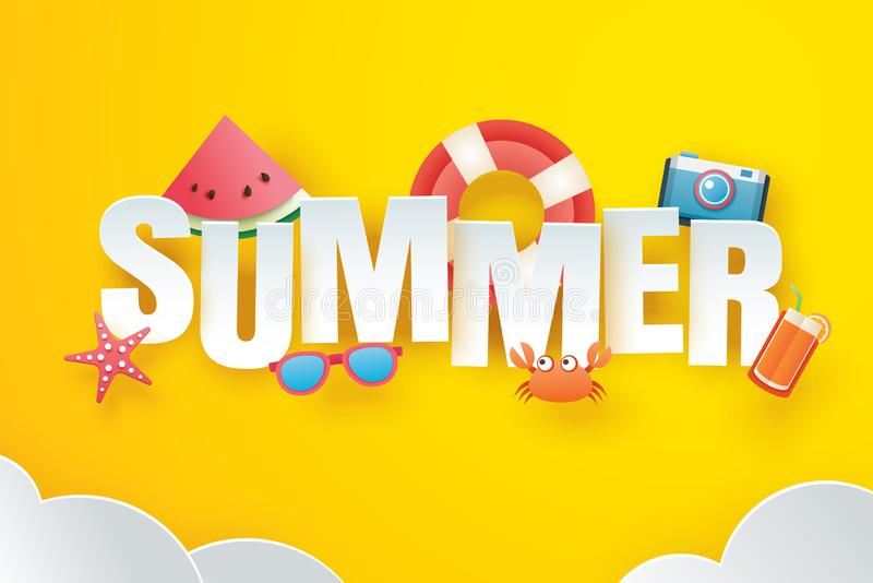 Hola verano con papiroflexia de la decoración en el fondo amarillo del cielo Estilo de papel del arte y del arte Ejemplo del vect libre illustration
