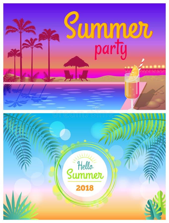 Hola verano de los carteles del partido 2018 del verano en la piscina libre illustration