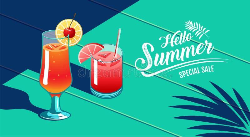 Hola verano, diseño de la plantilla, tropical y día de fiesta, cóctel, sandía y cereza, ejemplo del vector libre illustration