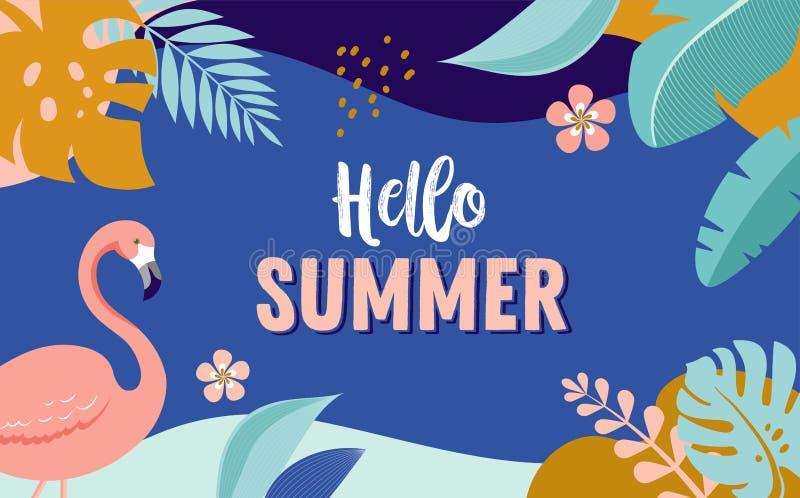Hola verano, dise?o de la bandera del vector con el flamenco y hojas tropicales stock de ilustración