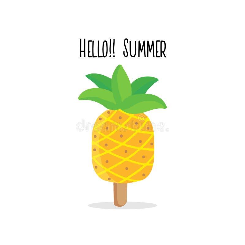 Hola verano Ejemplo exhausto de la mano del helado de la piña de Kawaii ilustración del vector