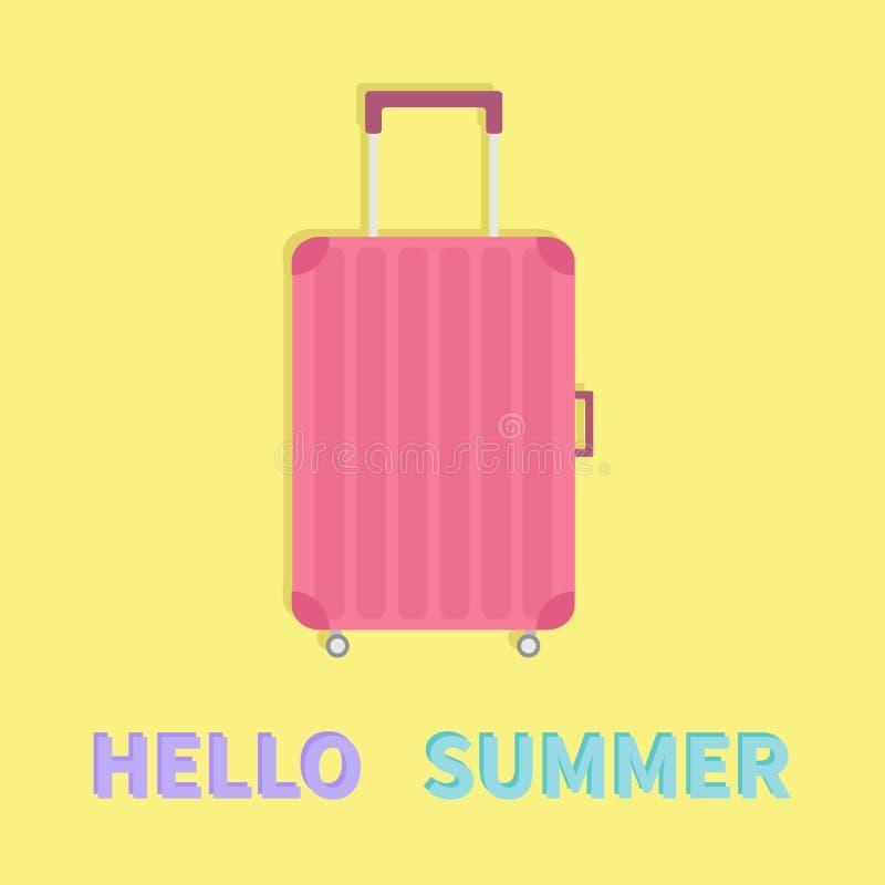 Hola verano Equipaje de la maleta del bolso del viaje Rueda y manija rosadas del bolso del equipaje Planeamiento de las vacacione ilustración del vector