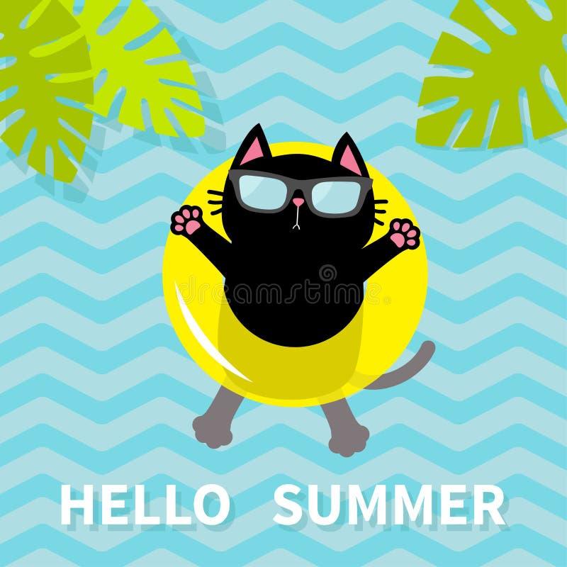 Hola verano Gato negro que flota en círculo amarillo del agua de la piscina del aire lifebuoy Hoja de la palmera Carácter relajan ilustración del vector