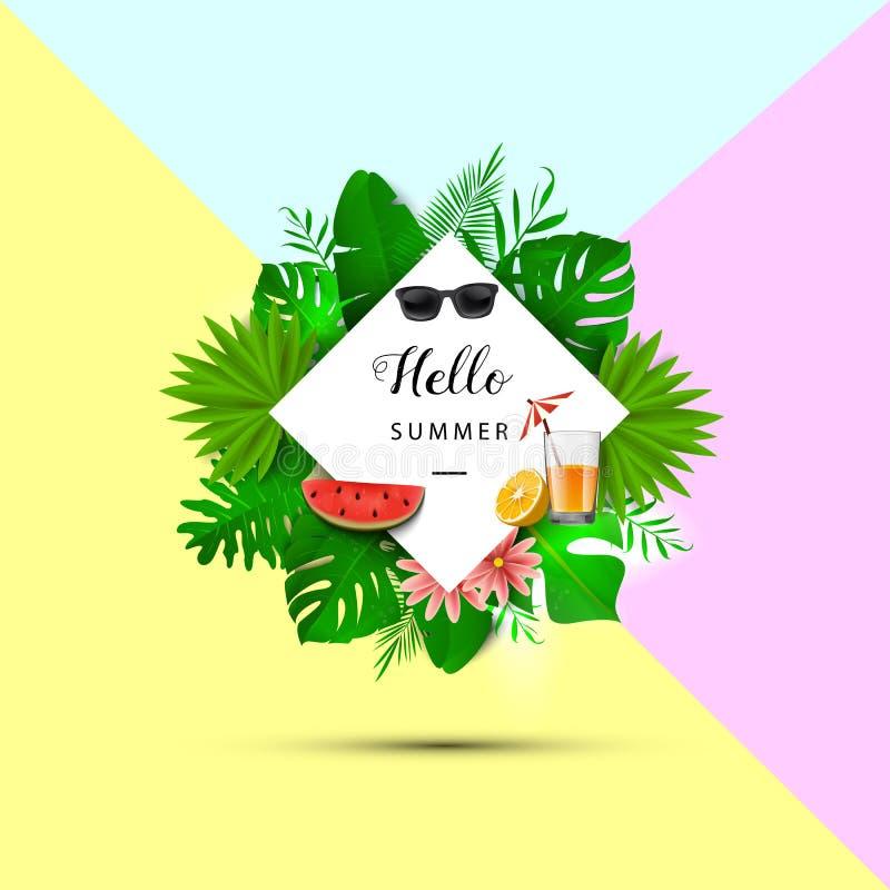 Hola verano Hojas tropicales Ilustración del vector Bandera del verano con 3d las hojas hawaianas, gafas de sol, rebanada de la s ilustración del vector