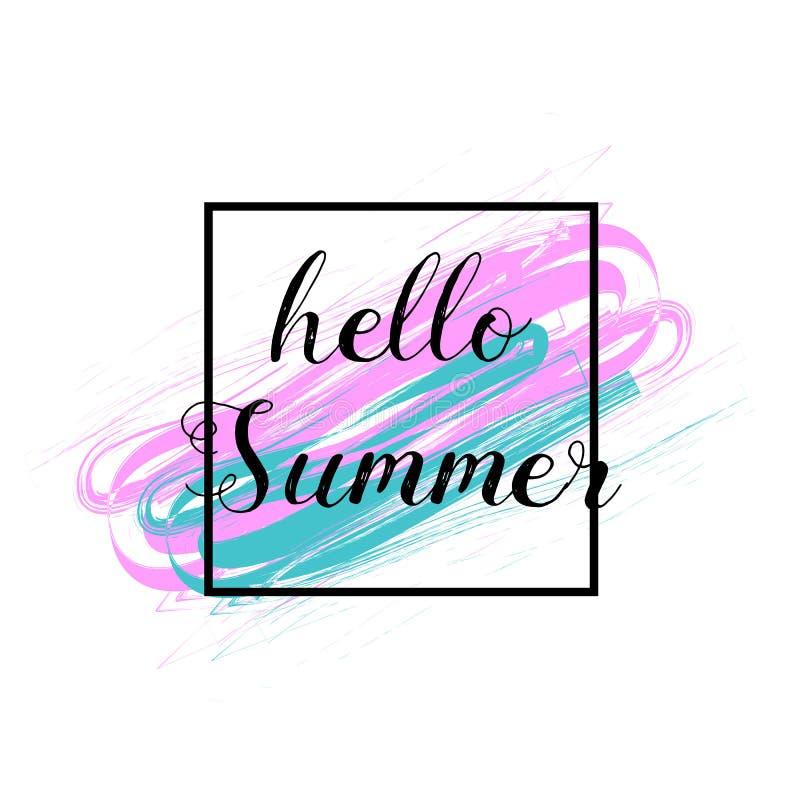 Hola verano Ilustración del vector Cepillo texturizado Grunge movimiento-rosado y azul Insignia del verano Para la venta, descuen ilustración del vector
