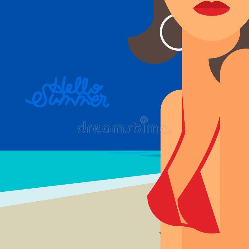Hola verano, mujer hermosa en bikini ilustración del vector
