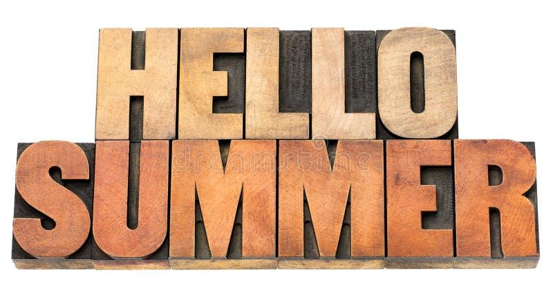 Hola verano - redacte el extracto en el tipo de madera foto de archivo