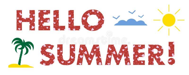 Hola verano Sun, corazones, palma stock de ilustración