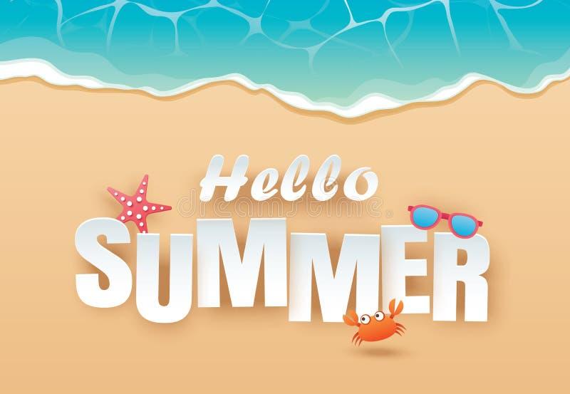 Hola viaje de la opini?n superior de la playa del verano y fondo de las vacaciones Uso para la plantilla de la bandera, la tarjet ilustración del vector