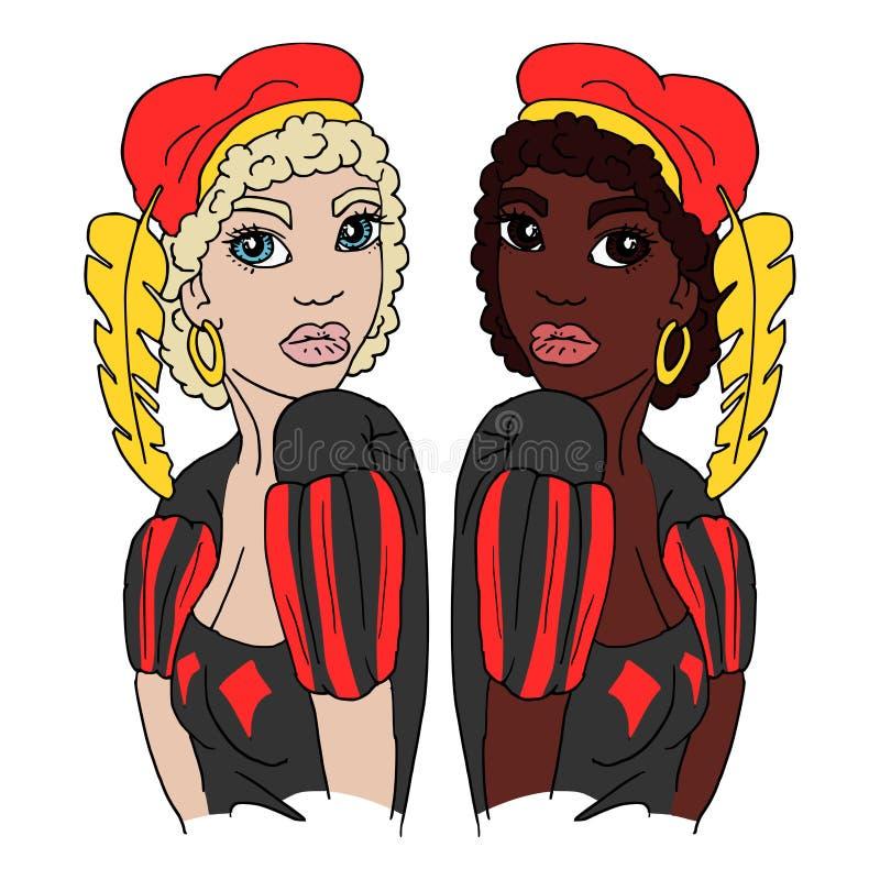 Holandés Zwarte Piet y Witte Piet stock de ilustración