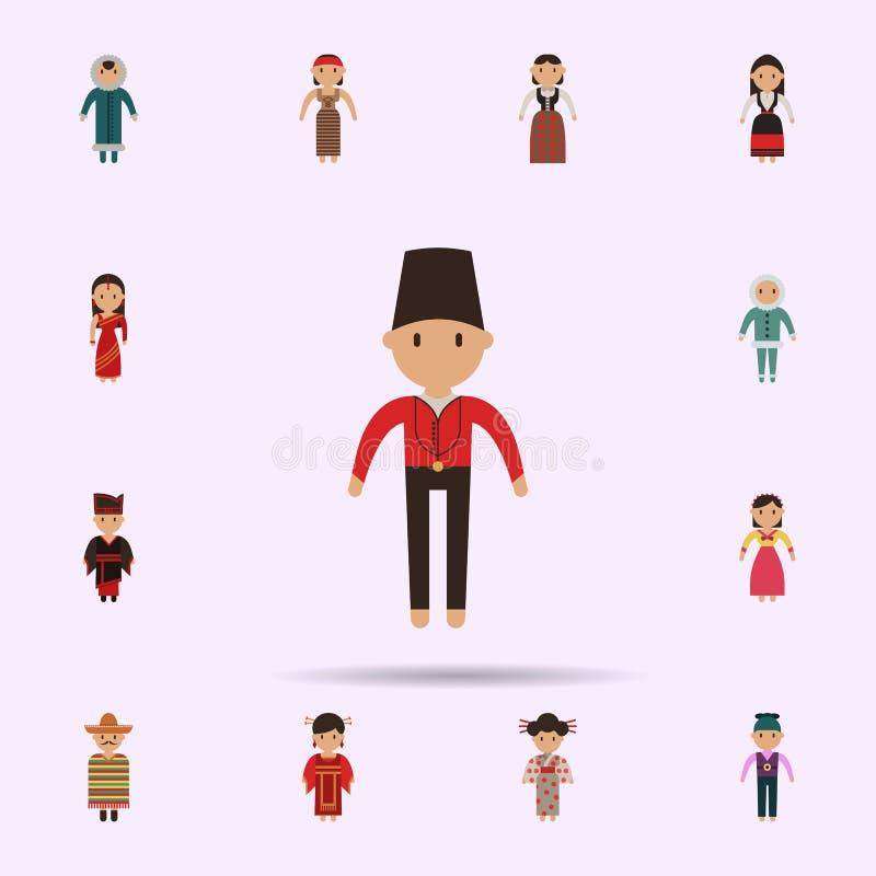 Holand?s, ?cone dos desenhos animados do homem Grupo universal de pessoas em todo o mundo para o projeto do Web site e o desenvol ilustração royalty free