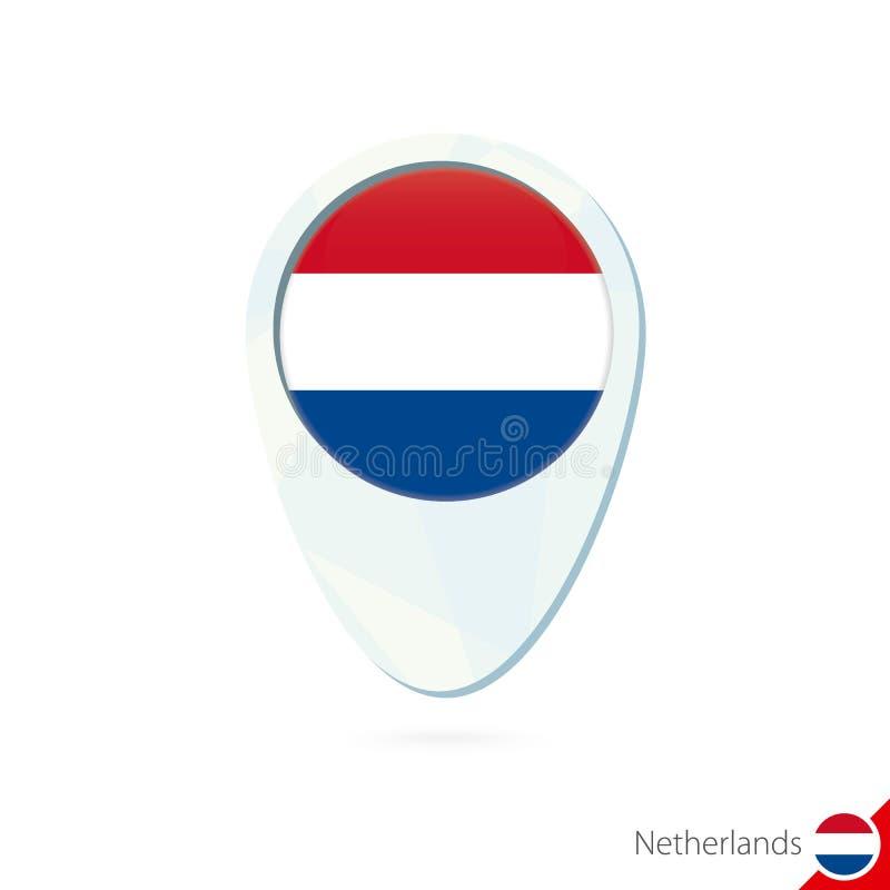 Holandie zaznaczają lokacji mapy szpilki ikonę na białym tle ilustracji