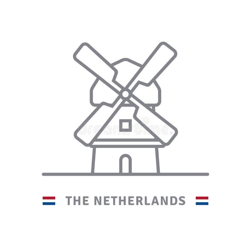 Holandii ikona z holenderskim wiatraczkiem i flaga ilustracja wektor