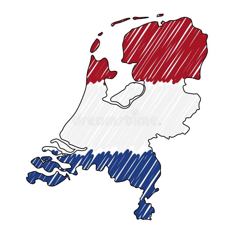 Holandii mapy r?ka rysuj?cy nakre?lenie Wektorowa poj?cie ilustracji flaga, dziecko rysunek, skrobaniny mapa Kraj mapa dla ilustracji