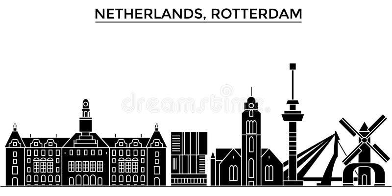 Holandii, Rotterdam architektury miasto wektorowa linia horyzontu ilustracja wektor