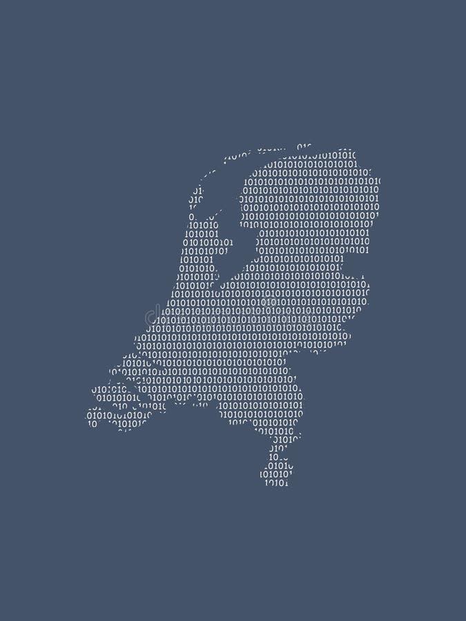 Holandii wektorowa mapa używać białe binarne cyfry na ciemnym tle znaczyć cyfrowego kraju i popierania technologia ilustracja wektor