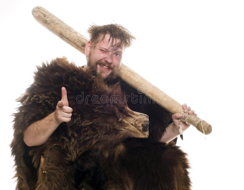 Holbewoner in beerhuid stock afbeeldingen