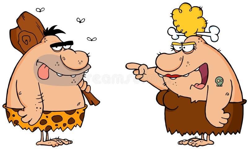Holbewoner en Boze Cavewoman vector illustratie