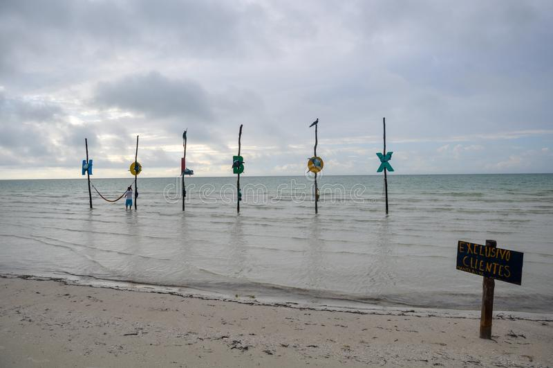 Holbox in de oceaan, Holbox, Mexico royalty-vrije stock fotografie