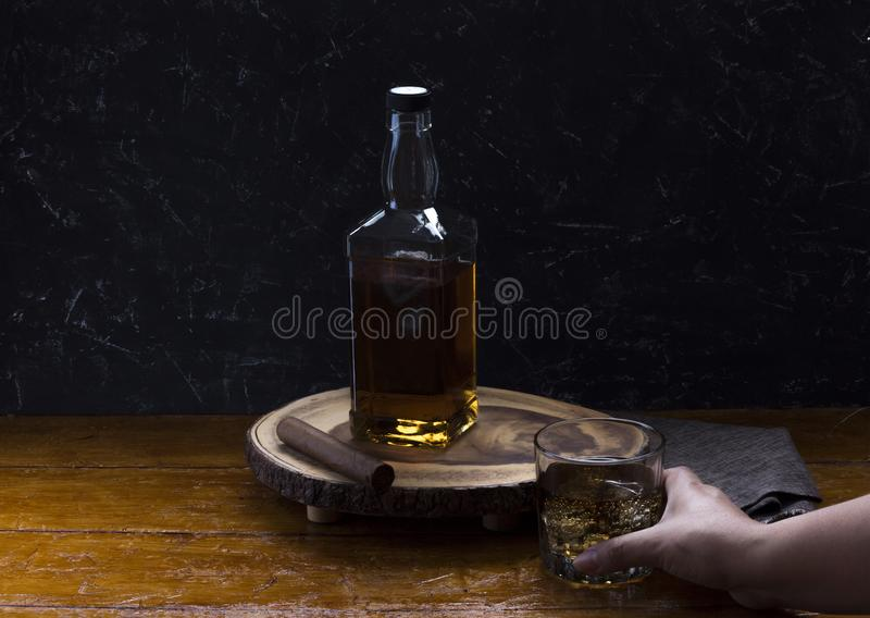 Whiskey served in cold glass ready to be tasted. stock image