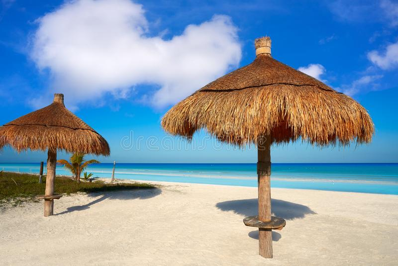 Holbox Island in Quintana Roo Mexico. Holbox Island beach sunroof palapa in Quintana Roo of Mexico royalty free stock photography