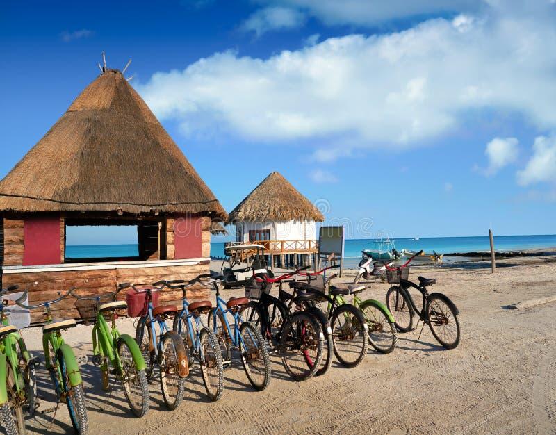 Holbox Island bicycles and hut Quintana Roo. Holbox Island bicycles and hut in Quintana Roo of Mexico royalty free stock image