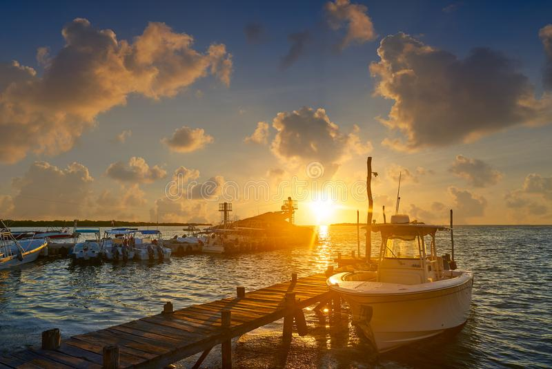 Holbox island port sunset in Quintana Roo. Of Mexico stock image