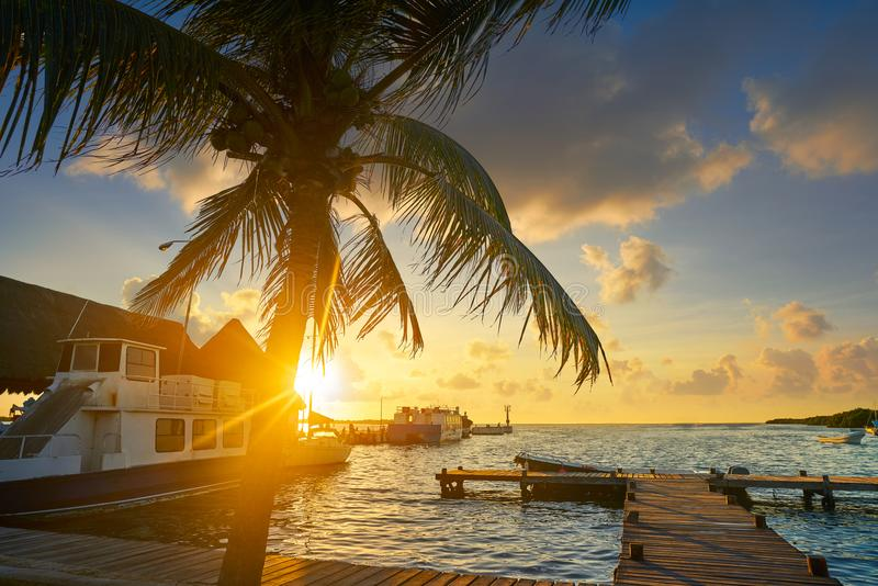 Holbox island port sunset in Quintana Roo. Of Mexico royalty free stock photo