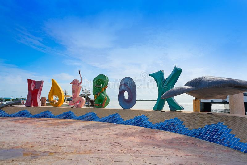 Holbox island word sign spell in Quintana Roo stock images