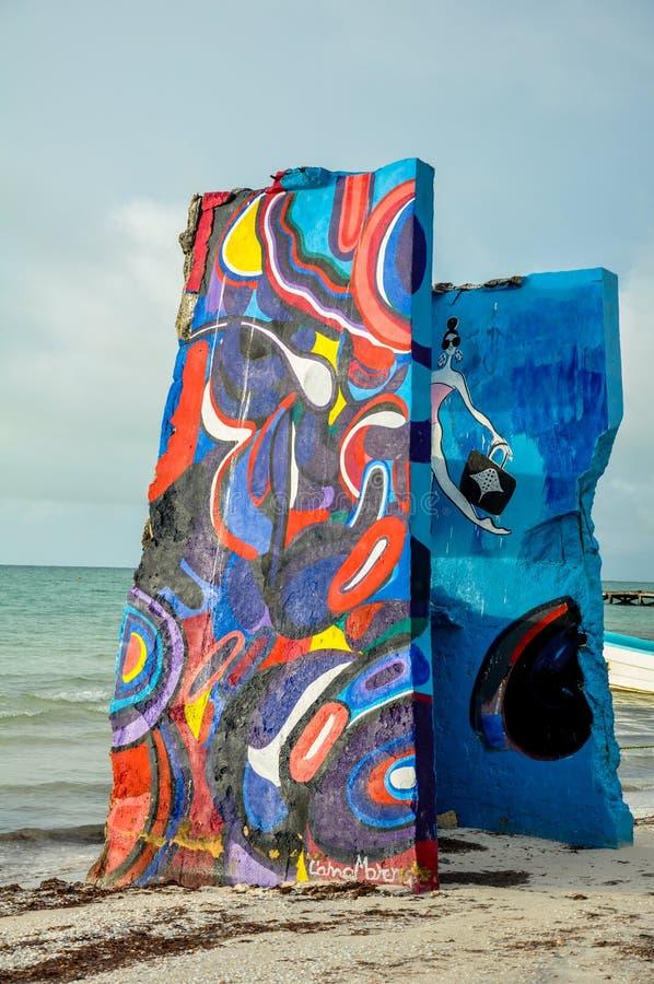 HOLBOX, MEXICO - MAY 25, 2018: Beach artwork along the coast of small fishing town Isla Holbox stock image