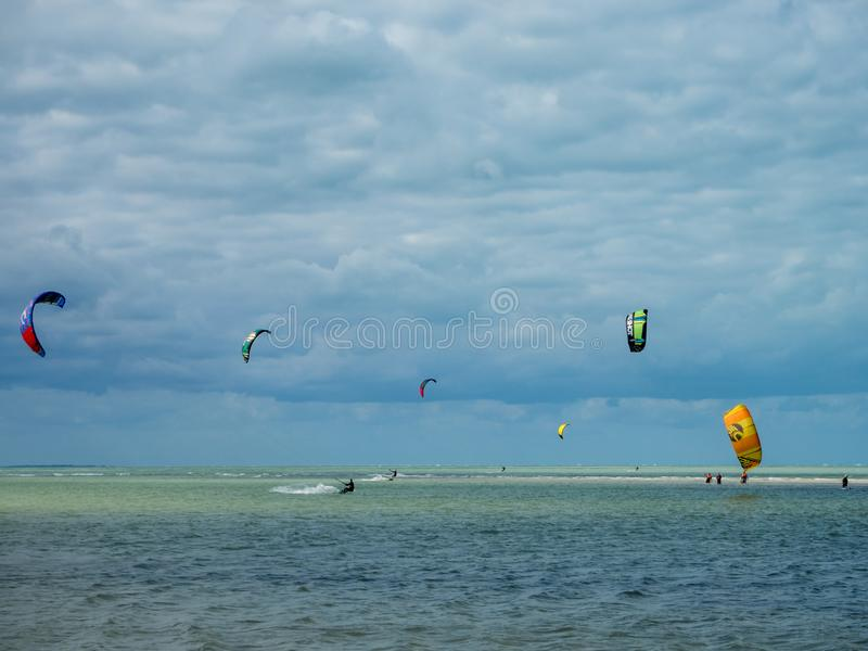 Holbox, Mexico, South America [Tropical relaxation in Holbox island, tourist destination, kitesurfing in the Carribean gulf, sea]. Holbox, Mexico, South America stock photos