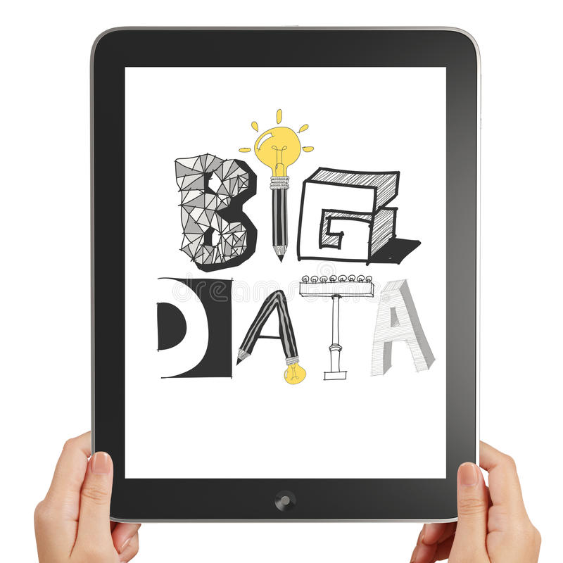 hold black tablet pc computer royalty free stock image