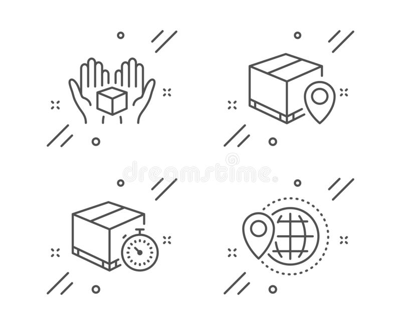 Hold box, Delivery timer and Parcel tracking icons set. World travel sign. Vector vector illustration