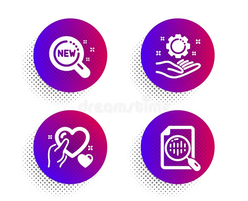 Hold heart, Employee hand and New products icons set. Analytics chart sign. Care love, Work gear, Search. Vector. Hold heart, Employee hand and New products royalty free illustration