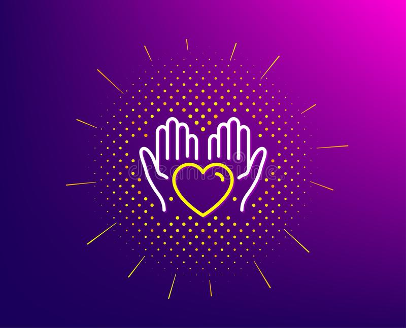 Hold heart line icon. Care love emotion sign. Vector. Hold heart line icon. Halftone pattern. Care love emotion sign. Valentine day symbol. Gradient background royalty free illustration