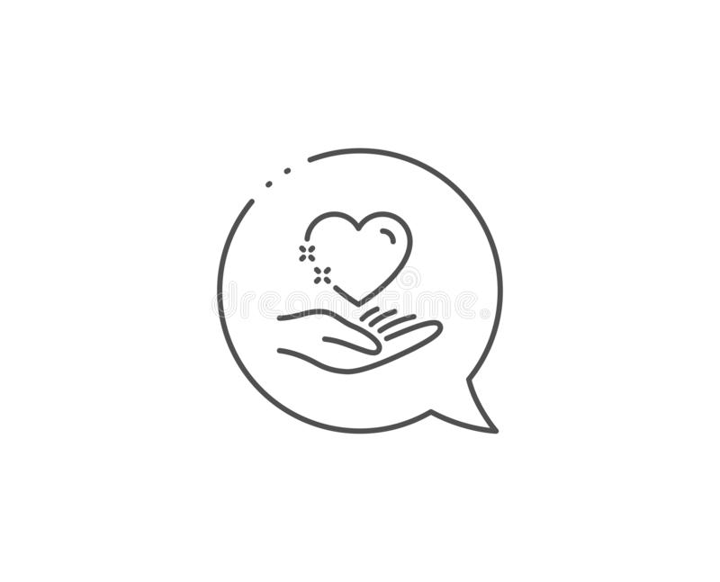 Hold heart line icon. Care love emotion sign. Vector. Hold heart line icon. Chat bubble design. Care love emotion sign. Valentine day symbol. Outline concept royalty free illustration