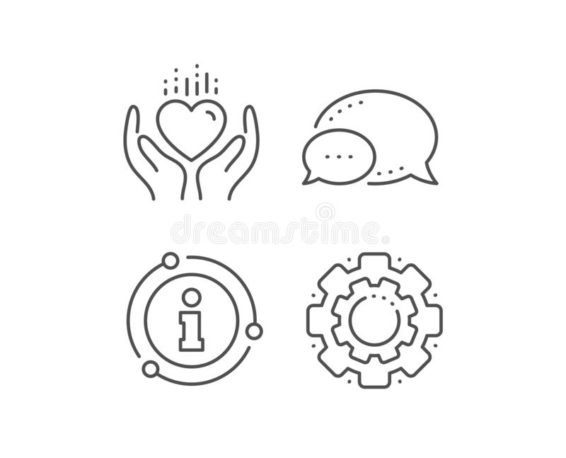 Hold heart line icon. Care love emotion sign. Vector. Hold heart line icon. Chat bubble, info sign elements. Care love emotion sign. Valentine day symbol. Linear vector illustration
