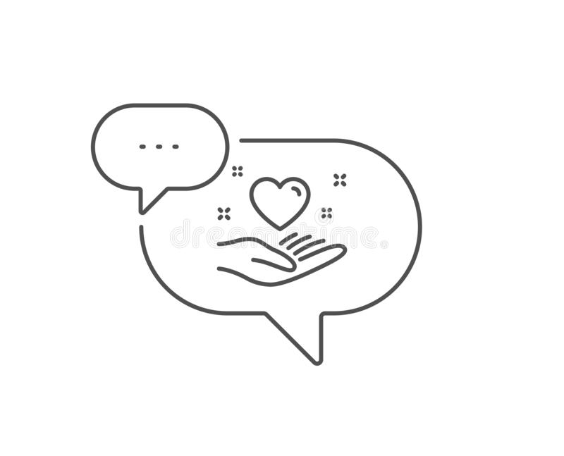 Hold heart line icon. Friends love sign. Friendship hand. Vector. Hold heart line icon. Chat bubble design. Friends love sign. Friendship hand symbol. Outline royalty free illustration