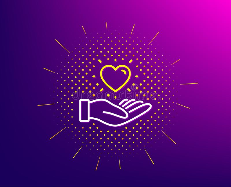 Hold heart line icon. Friends love sign. Brand ambassador hand. Vector royalty free illustration