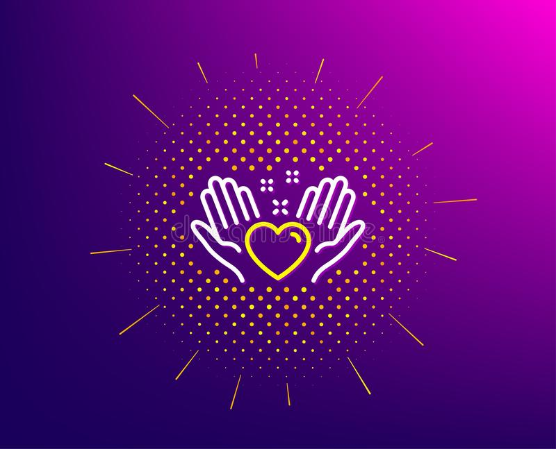 Hold heart line icon. Friends love sign. Friendship hand. Vector. Hold heart line icon. Halftone pattern. Friends love sign. Friendship hand symbol. Gradient royalty free illustration