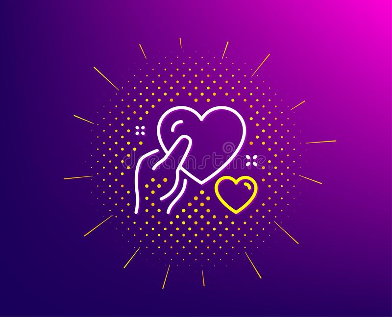 Hold heart line icon. Care love emotion sign. Vector. Hold heart line icon. Halftone pattern. Care love emotion sign. Valentine day symbol. Gradient background vector illustration