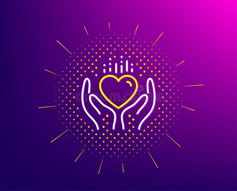 Hold heart line icon. Care love emotion sign. Vector. Hold heart line icon. Halftone pattern. Care love emotion sign. Valentine day symbol. Gradient background stock illustration