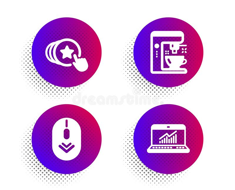 Hold heart, Scroll down and Coffee maker icons set. Online statistics sign. Vector. Hold heart, Scroll down and Coffee maker icons simple set. Halftone dots stock illustration