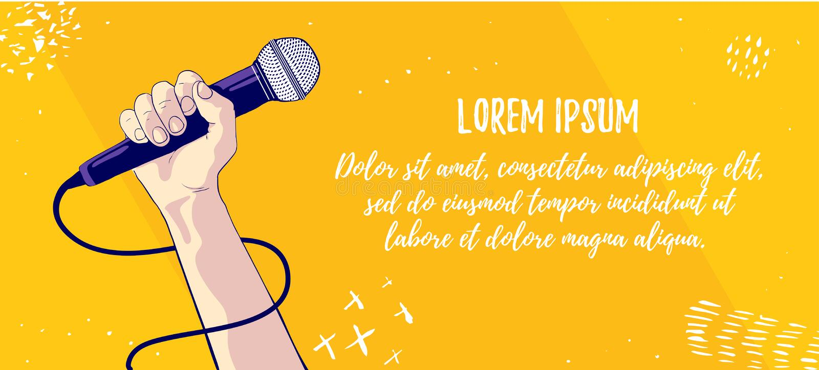 Hold microphone. Showman or singer symbol. Music and singing. Vector illustration. Banner design template stock illustration