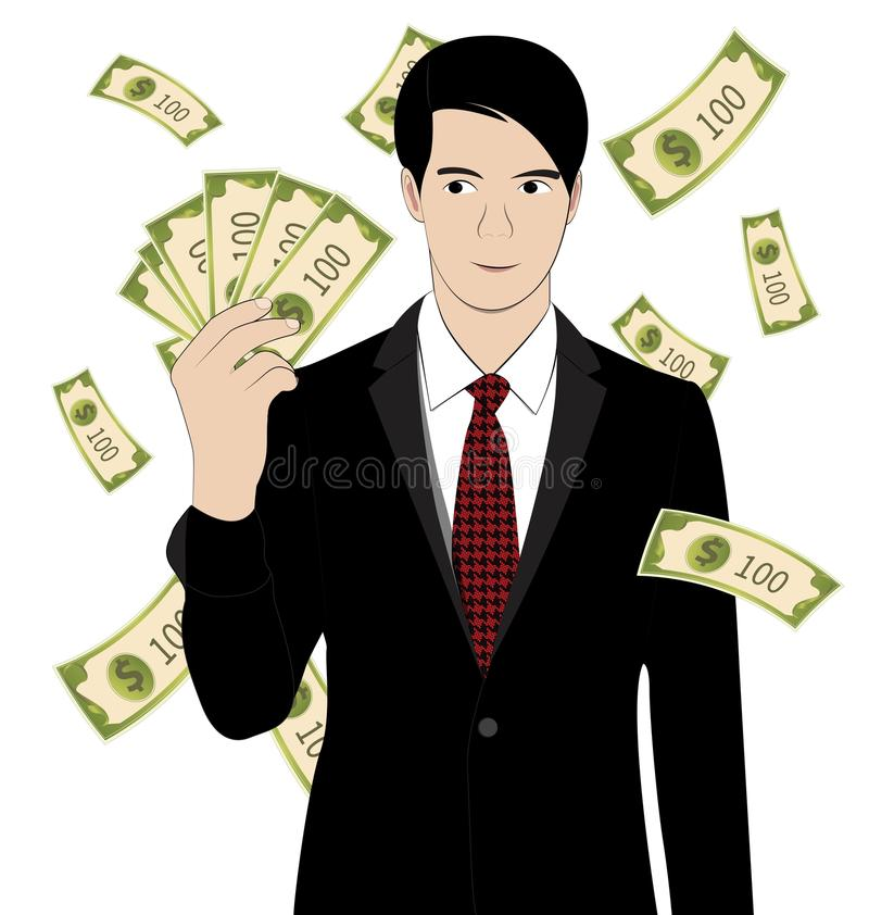 Hold money. Business man hold money on white background vector illustration