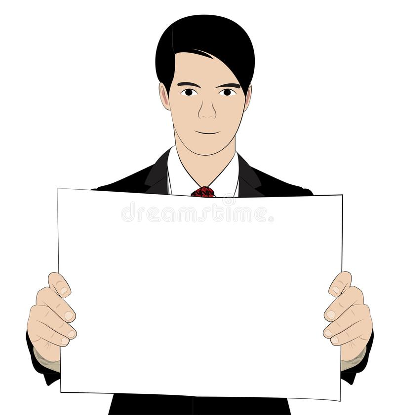Hold paper 2. Business man hold paper on white background vector illustration