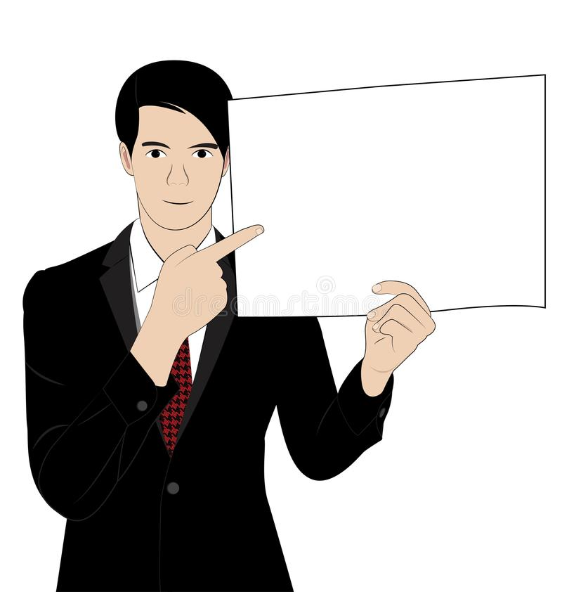 Hold paper 3. Business man hold paper on white background vector illustration
