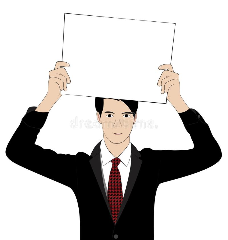 Hold paper 1. Business man hold paper on white background stock illustration